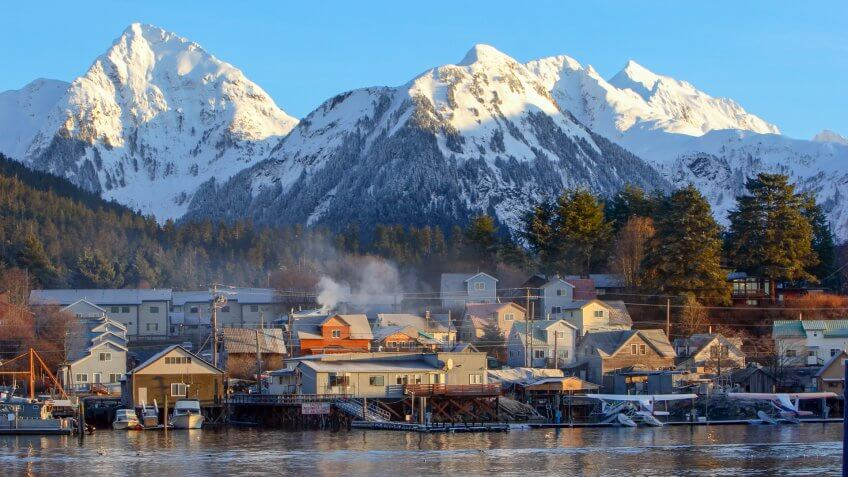 The city of Sitka, Alaska at dawn.