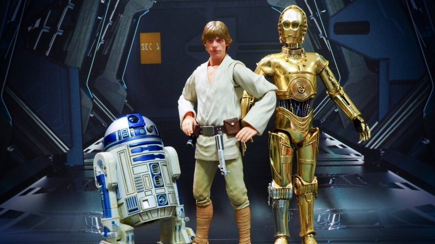 Bangkok, Thailand- June 17,2018: Luke Skywalker with his robots R2D2 and C3PO, an action figures from Star Wars.
