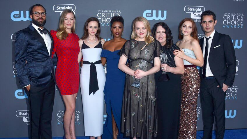 "Photo by Jordan Strauss/Invision/AP/REX/Shutterstock The cast and crew of ""The Handmaid's Tale"", winners of the award for best drama series, pose in the press room at the 23rd annual Critics' Choice Awards at the Barker Hangar, in Santa Monica, Calif 23rd Annual Critics' Choice Awards - Press Room, Santa Monica, USA - 11 Jan 2018"