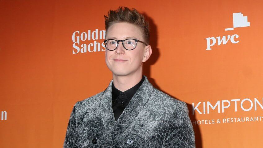 LOS ANGELES - DEC 3: Tyler Oakley at the 2017 TrevorLIVE Los Angeles at Beverly Hilton Hotel on December 3, 2017 in Beverly Hills, CA.