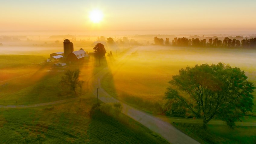 Wisconsin farm at sunrise