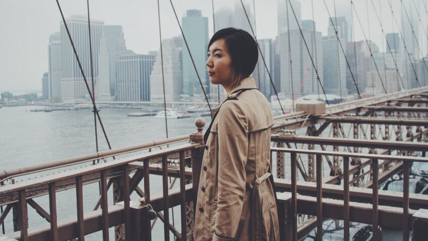 Woman in trench coat taking in the view of New York