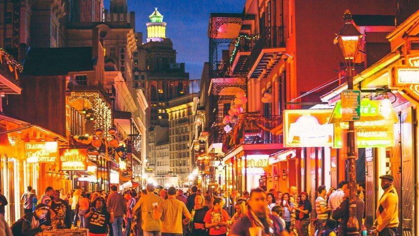 Bourbon Street nightlife.