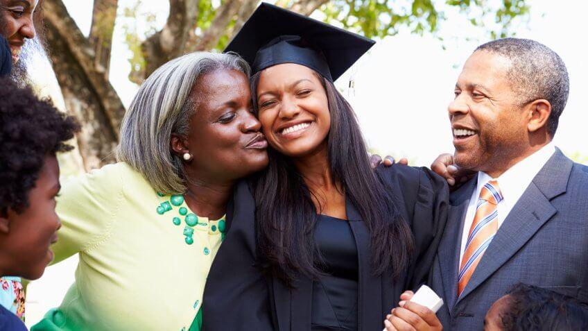Student Celebrates Graduation With Parents.