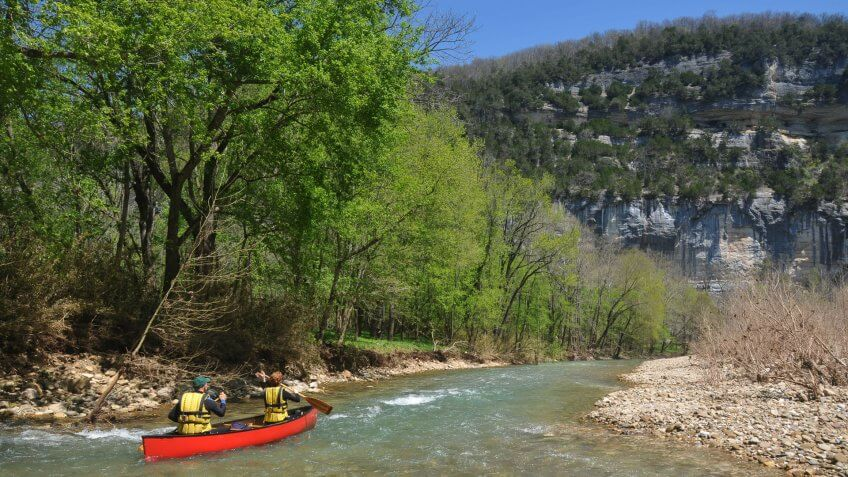 Adventure, Arkansas, Buffalo River, Canoeing, Cliff, Couple, Floating On Water, Flowing, Flowing Water, Forest, Gravel, Gravel Bar, Horizontal, Landscape, Mature Adult, Men, Nautical Vessel, Paddling, People Traveling, Plant, Rapid, Red, River, Sandbar, Scenics, Shallow, Stream, Tree, Two People, Water, Women, Woods, Yellow, canoe, life jacket, nature, spring