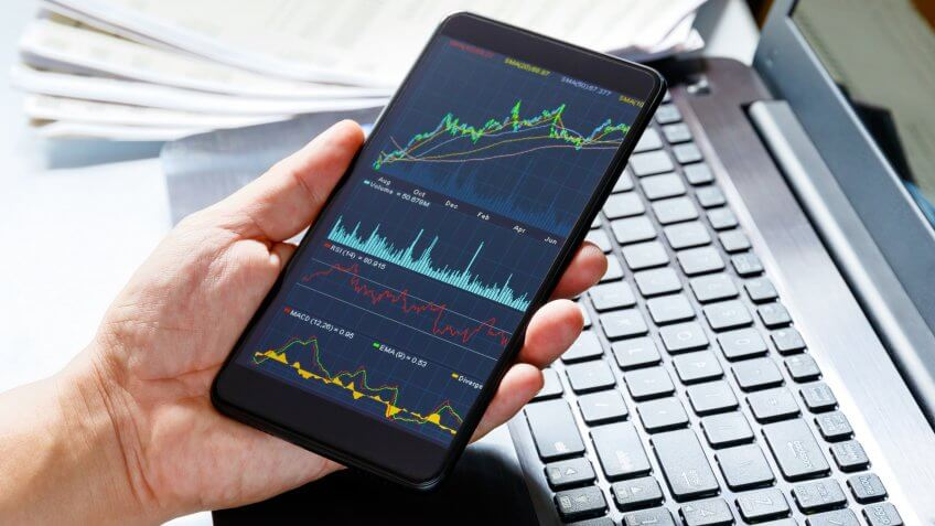 Stock market data on moblie phone.
