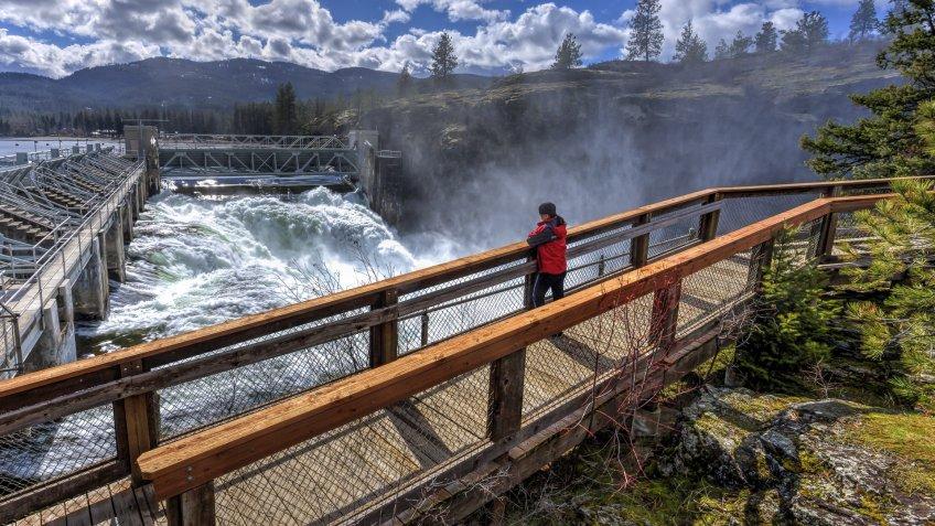 person watching waterfall in Idaho