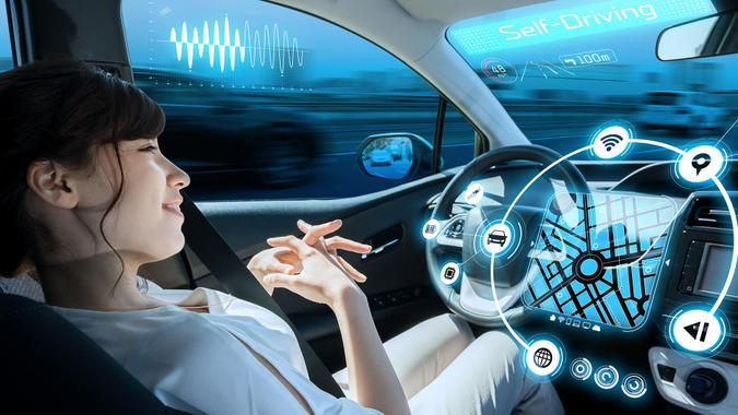 relaxed woman in autonomous car.