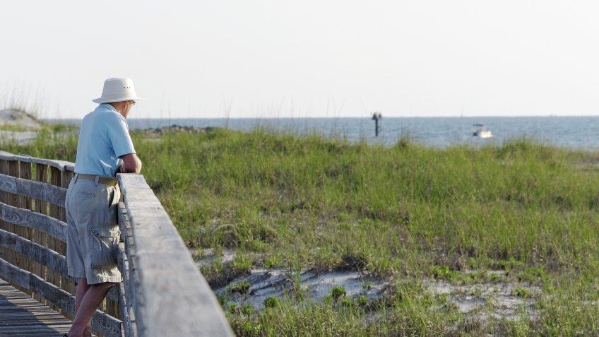 senior man on Alabama coast
