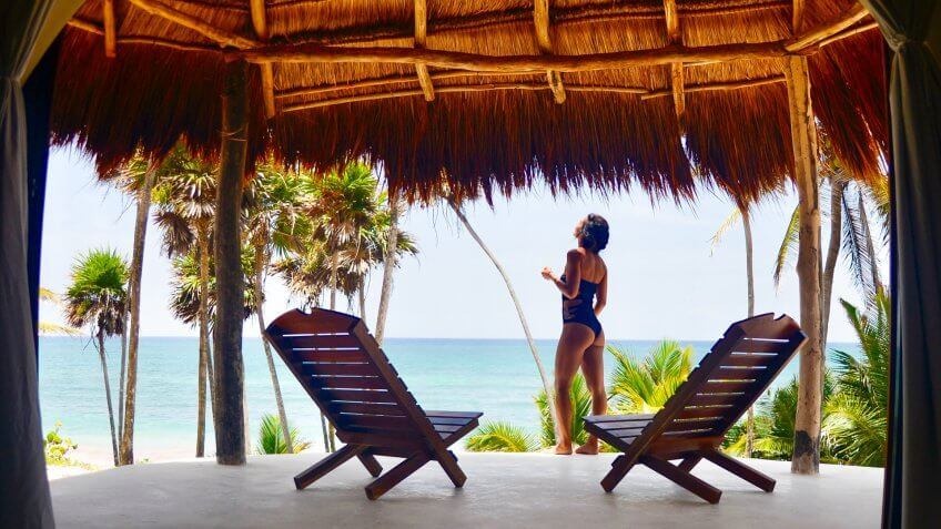 woman in tropical hotel destination