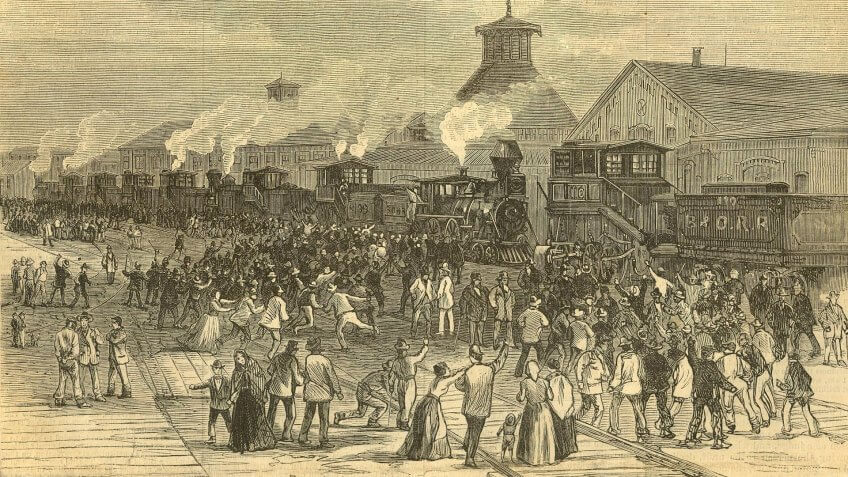 """""""Blockade of Engines at Martinsburg, West Virginia,"""" an engraving on front cover of """"Harper's Weekly, Journal of Civilization,"""" Vol XXL, No."""