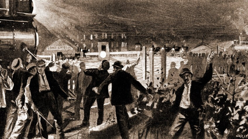 Escalation of the Pullman Strike by the American Railway Union, night of June 26, 1894.