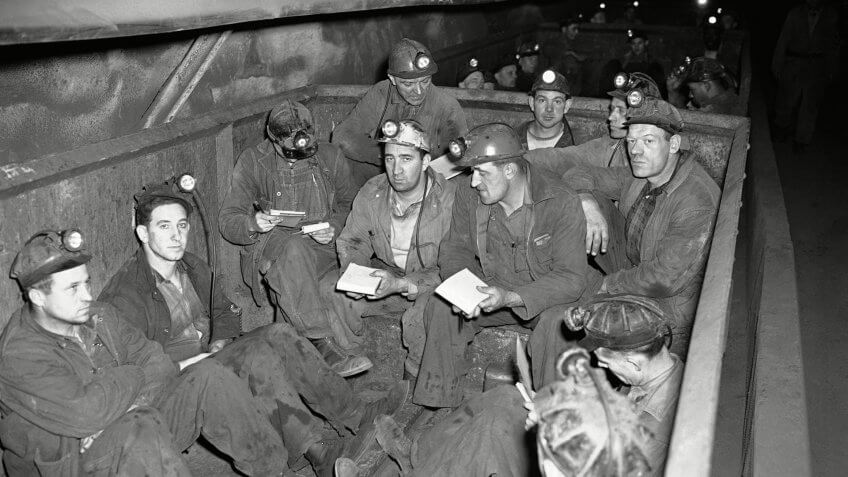 Mandatory Credit: Photo by CO/AP/REX/Shutterstock (6671655a)Soft coal mine workers going to work in the Willow Grove Mine of the Hanna Coal Company, near St.
