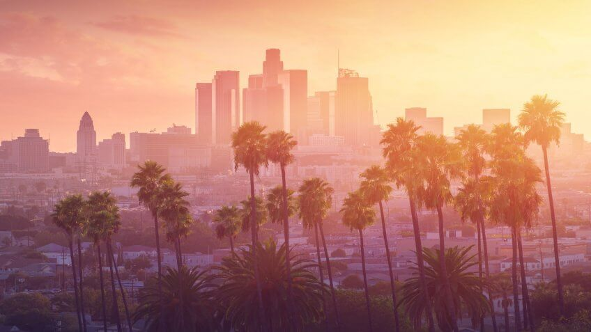 Los Angeles California skyline at sunset