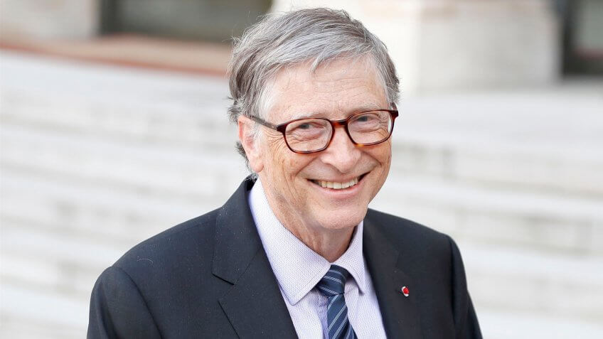 Mandatory Credit: Photo by IAN LANGSDON/EPA-EFE/REX/Shutterstock (9633982a)Bill GatesUS business magnate Bill Gates at the Elysee Palace in Paris, France - 16 Apr 2018US business magnate Bill Gates, Microsoft co-founder and co-chair of the Bill & Melinda Gates Foundation, at the Elysee Palace in Paris, France, 16 April 2018.