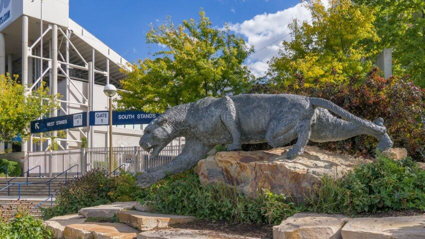 PROVO, UT/USA - OCTOBER 2, 2016: Cougar mascot at LaVell Edwards Stadium on Campus of Brigham Young University.
