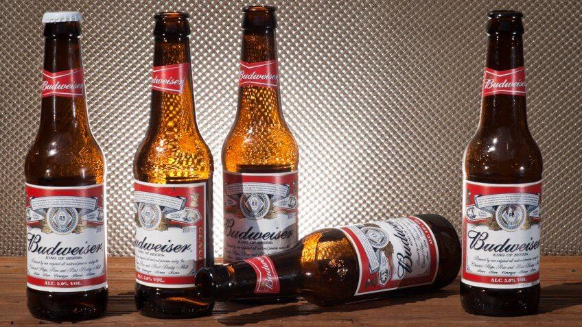 """London, England - August 10, 2010: Bottles of Budweiser Beer""."