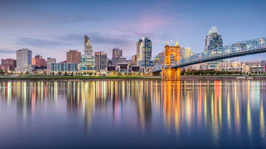 Cincinnati, Ohio, USA skyline on the river at dusk.
