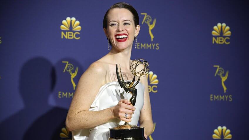Mandatory Credit: Photo by Matt Baron/REX/Shutterstock (9883802ec)Claire Foy - Outstanding Lead Actress in a Drama Series - 'The Crown'70th Primetime Emmy Awards, Press Room, Los Angeles, USA - 17 Sep 2018.