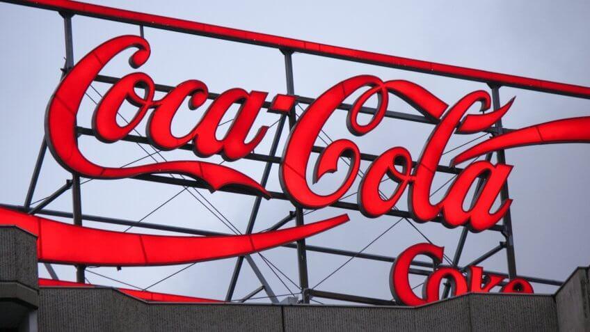 Coca-Cola Coke neon sign atop a building