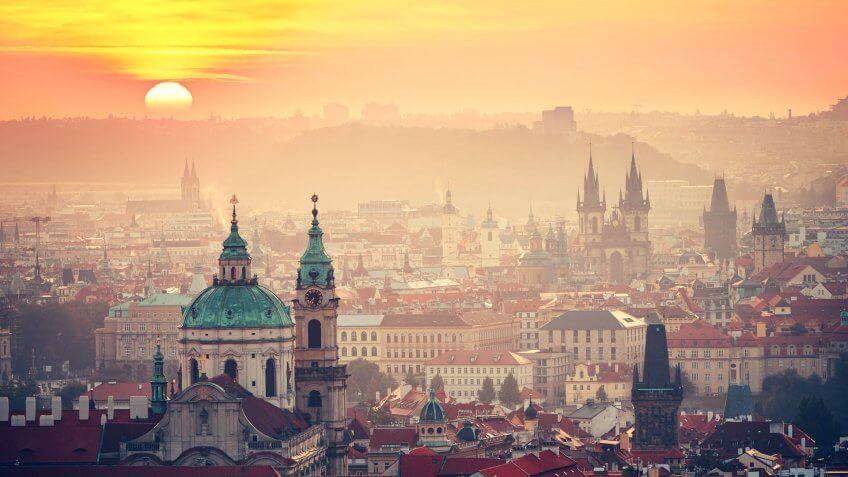 Cityscape of Prague at the sunrise - Czech Republic.