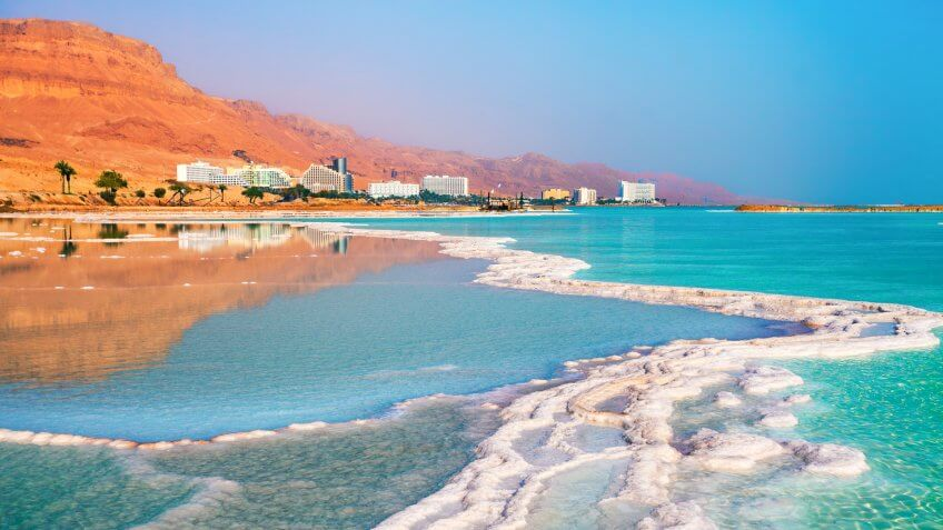Dead sea salt shore.