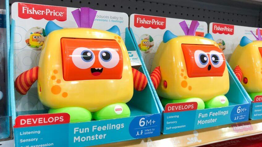 SUBANG, MALAYSIA - FEB 19, 2018: Fisher-Price brand toddlers educational toys on shelf.