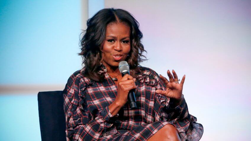 Photo by AP/REX/Shutterstock Former first lady Michelle Obama address the crowd during a conversation with poet Elizabeth Alexander at the second day of the Obama Foundation Summit, in Chicago Obama Sumit, Chicago, USA - 01 Nov 2017
