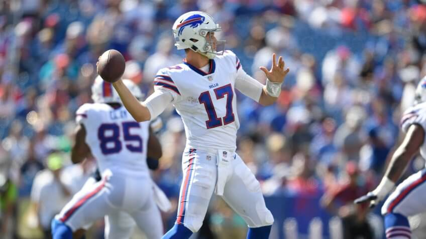 Mandatory Credit: Photo by Adrian Kraus/AP/REX/Shutterstock (9884251gj)Buffalo Bills quarterback Josh Allen looks to throw during the second half of an NFL football game against the Los Angeles Chargers, in Orchard Park, N.