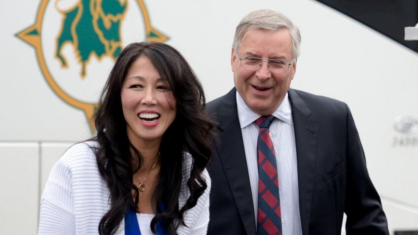 Mandatory Credit: Photo by Gary Wiepert/AP/REX/Shutterstock (9275120o)Buffalo Bills owners Kim and Terry Pegula arrive to Ralph Wilson Stadium before an NFL football game against the Indianapolis Colts, in Orchard Park, N.