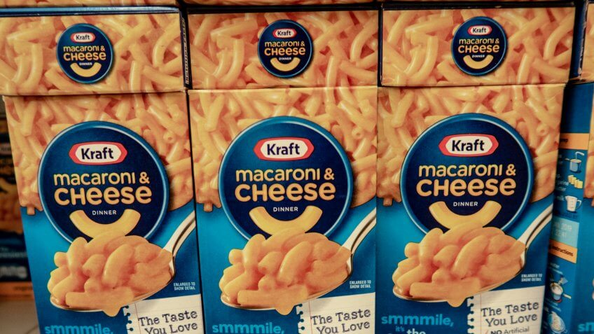 Laguna Hills, CA / USA - 08/19/2018: Kraft Macaroni and Cheese on Display in a Grocery Store.