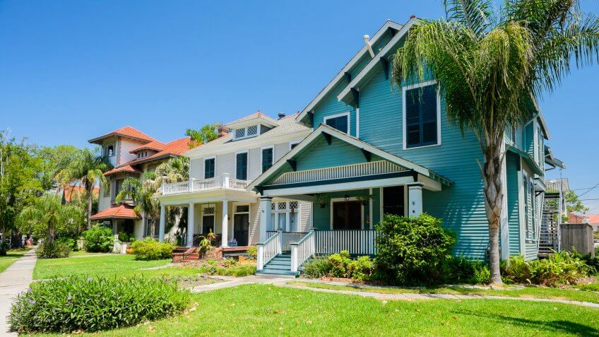 New Orleans, Louisiana USA - May 2, 2014: Typical southern style homes along Esplanade Avenue in New Orleans.