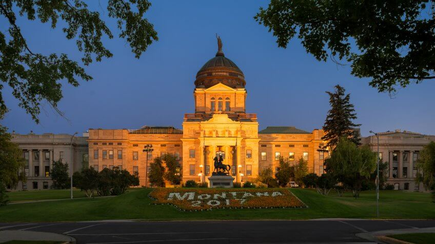 HELENA, MONTANA - JULY 19: Montana State Capitol at 1301 E 6th Avenue on July 19, 2017 in Helena, Montana.