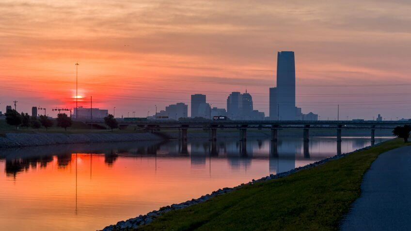 Sun rise over Oklahoma City, Oklahoma.