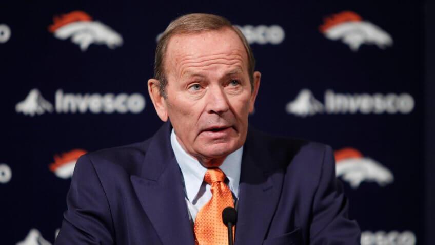 Mandatory Credit: Photo by Ed Andrieski/AP/REX/Shutterstock (5968480b)Pat Bowlen Denver Broncos owner Pat Bowlen talking about Hall of Fame quarterback John Elway, who he named Executive V.
