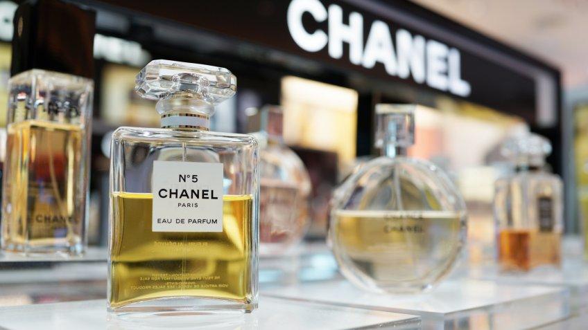 PENANG, MALAYSIA - FEB 13, 2018: Chanel brand perfume in duty free store shelf, Penang.