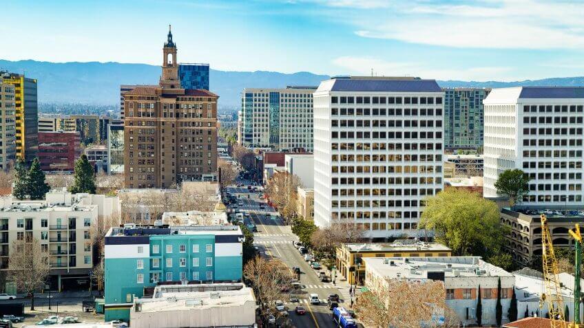 San Jose California elevated Santa Clara street view.