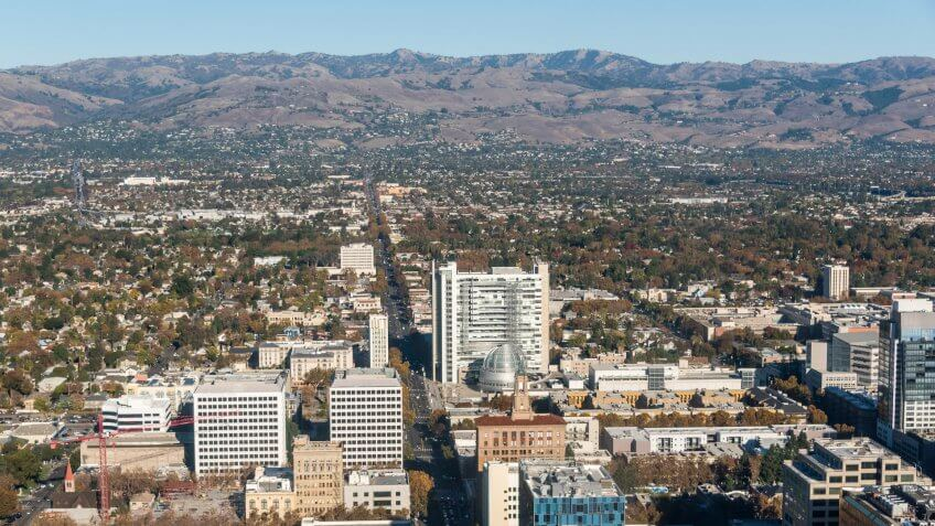 Aerial view of City Hall and downtown San Jose, California.