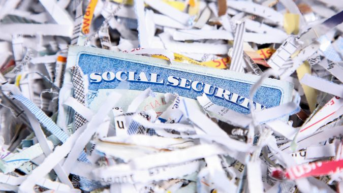 social security with shredded paper