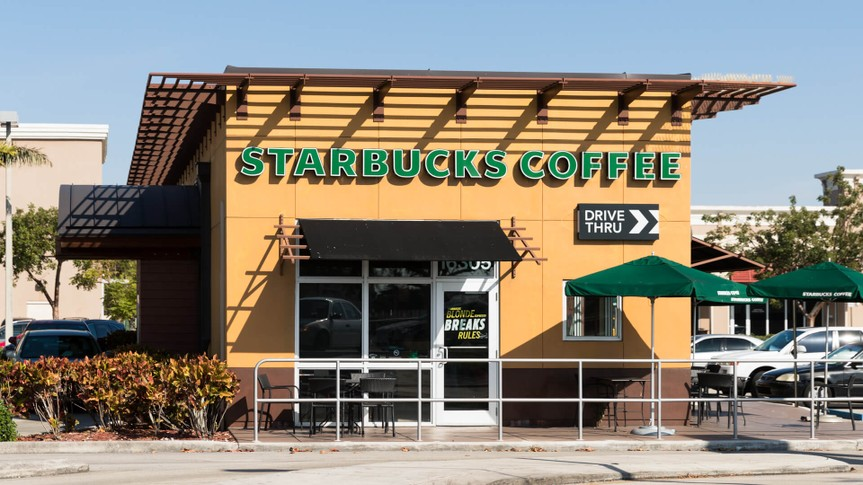 MIAMI - January 13, 2018: Starbucks Coffee is an American chain of coffee shops, founded in Seattle.