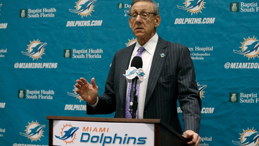 Mandatory Credit: Photo by Lynne Sladky/AP/REX/Shutterstock (6787057e)Stephen Ross Miami Dolphins football team owner Stephen Ross speaks before introducing Dennis Hickey as the new general manger during a news conference, in Davie, FlaDolphins GM Football, Davie.