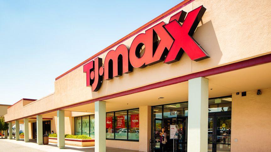 TJ Maxx discount fashion store facade in San Jose California on a sunny day.