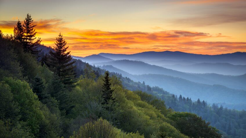 Great Smoky Mountains National Park Scenic Sunrise Landscape at Oconaluftee Overlook between Cherokee NC and Gatlinburg TN.