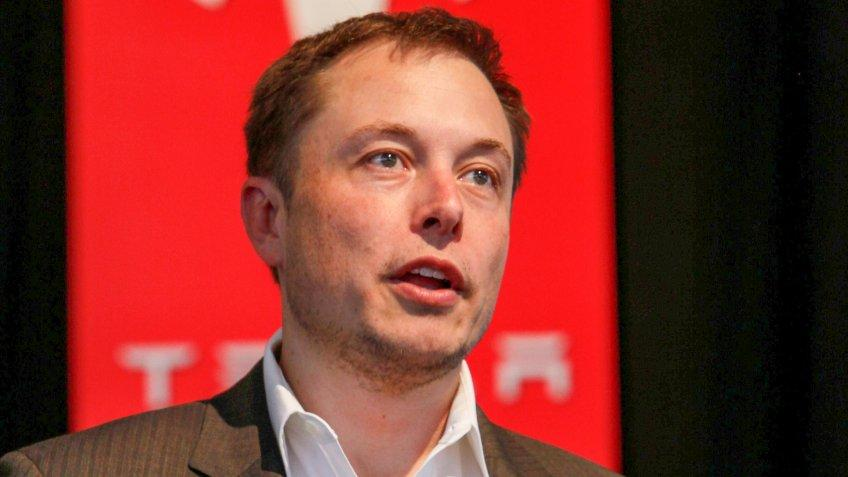 Elon Musk Tesla CEO speaks during North American Auto Show in Detroit