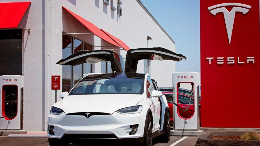 Tesla Model X with doors open
