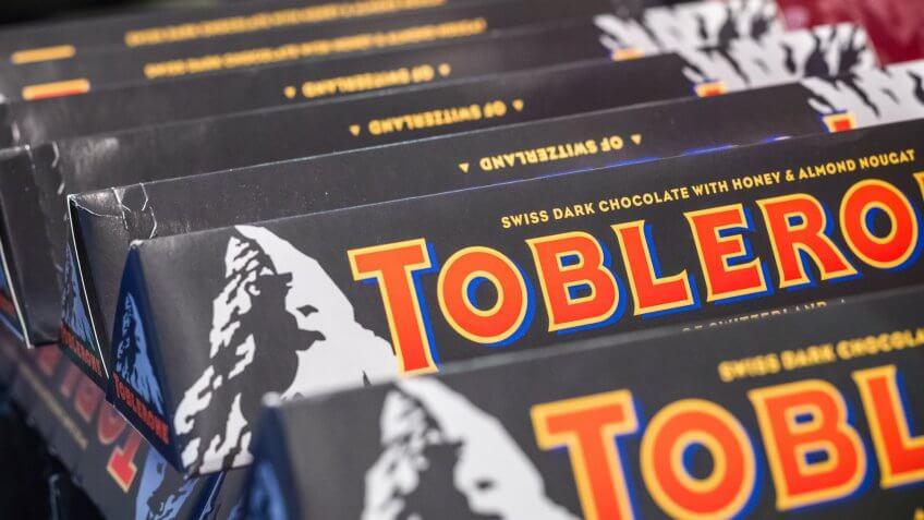 London, UK - August 12, 2018 - Toblerone Swiss dark chocolate on display at a duty free shop in London Heathrow Airport.