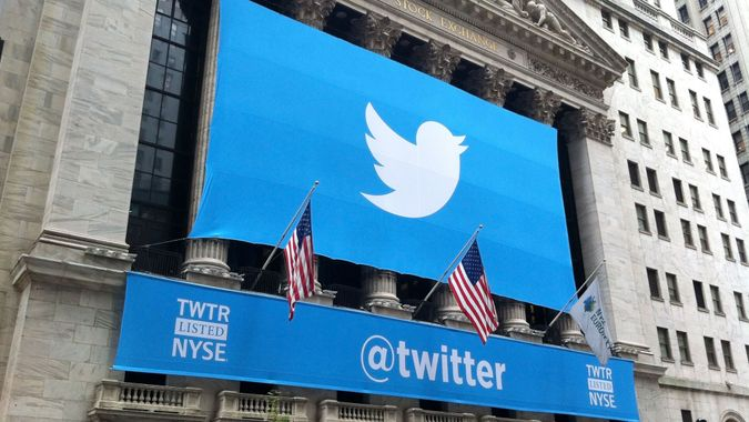 NEW YORK - NOVEMBER 7: The Twitter logo is shown in front of the NYSE on November 7, 2013 in New York.