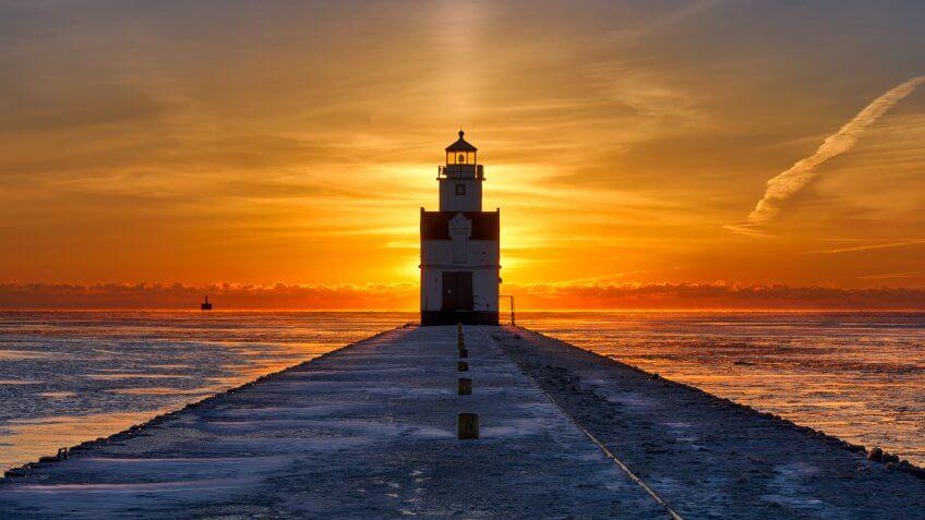 Wisconsin Kewaunee Lighthouse Sunrise