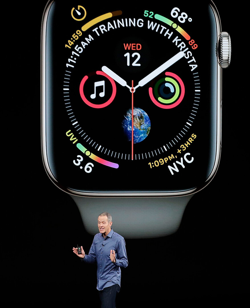 Jeff Williams, Apple's chief operating officer, speaks about the Apple Watch Series 4 at the Steve Jobs Theater during an event to announce new Apple products, in Cupertino, CalifApple Showcase, Cupertino, USA - 12 Sep 2018.