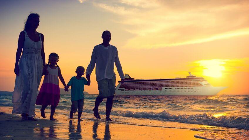Family Children Beach Cruise Ship Relaxation Concept.